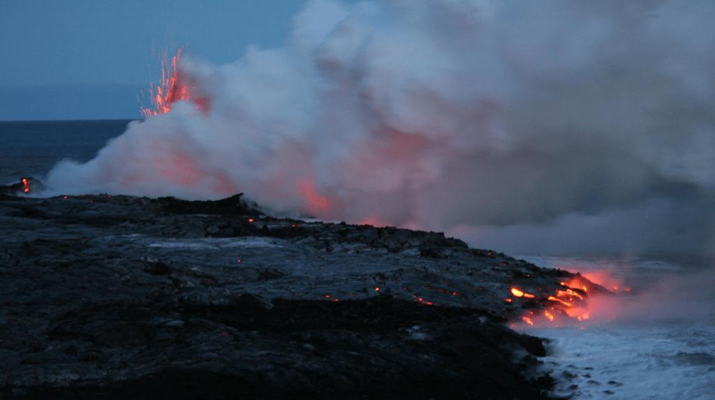 Lava entering sea Hawaii