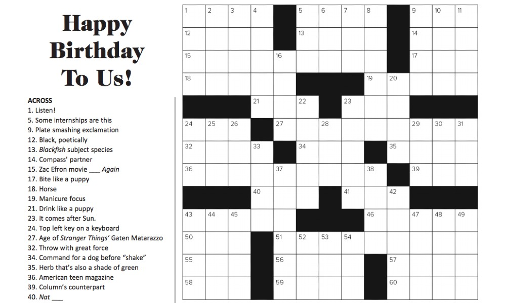 January 2020 Crossword Puzzle Answers: 'Happy Birthday To Us'