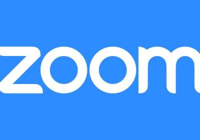 Zoom weiße Schrift auf blau