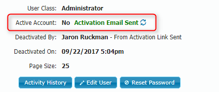 Activation Email Sent