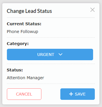 Change Lead Status Popup