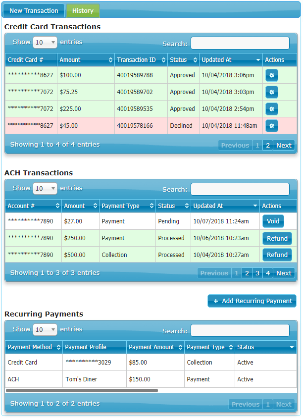 The History Tab Shows Three Transaction Reports