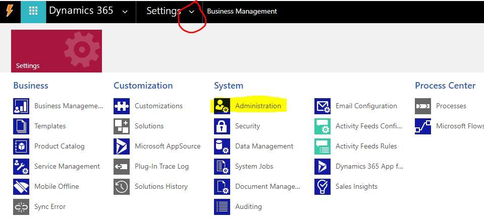 Administration settings