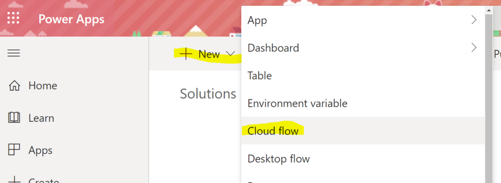 Add a new instant cloud flow