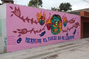 """Alumnas de Escuela Feminista de Arte Urbano """"Bravas"""" concluyen pinta de murales"""