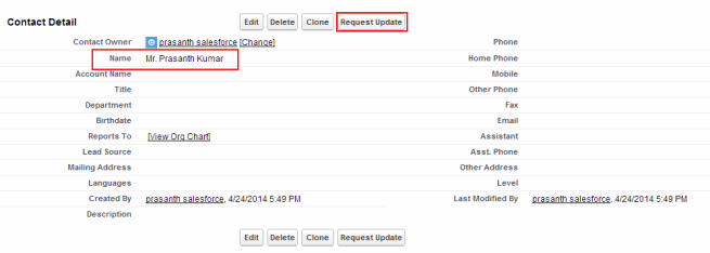 creating contact in salesforce1