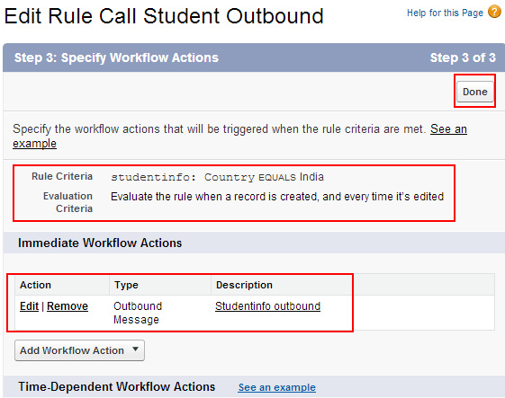 Generating Outbound Message workflow action
