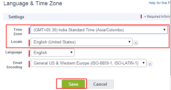 Time Zone Settings in Salesforce.com