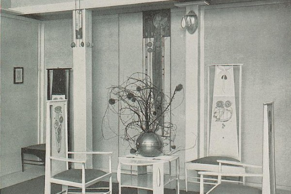 black and white image of Mackintoshes installation of 'A Rose Boudoir'.