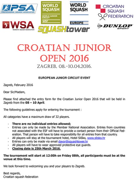 Microsoft Word - Croatian Junior Open 2016 - Invitation.doc