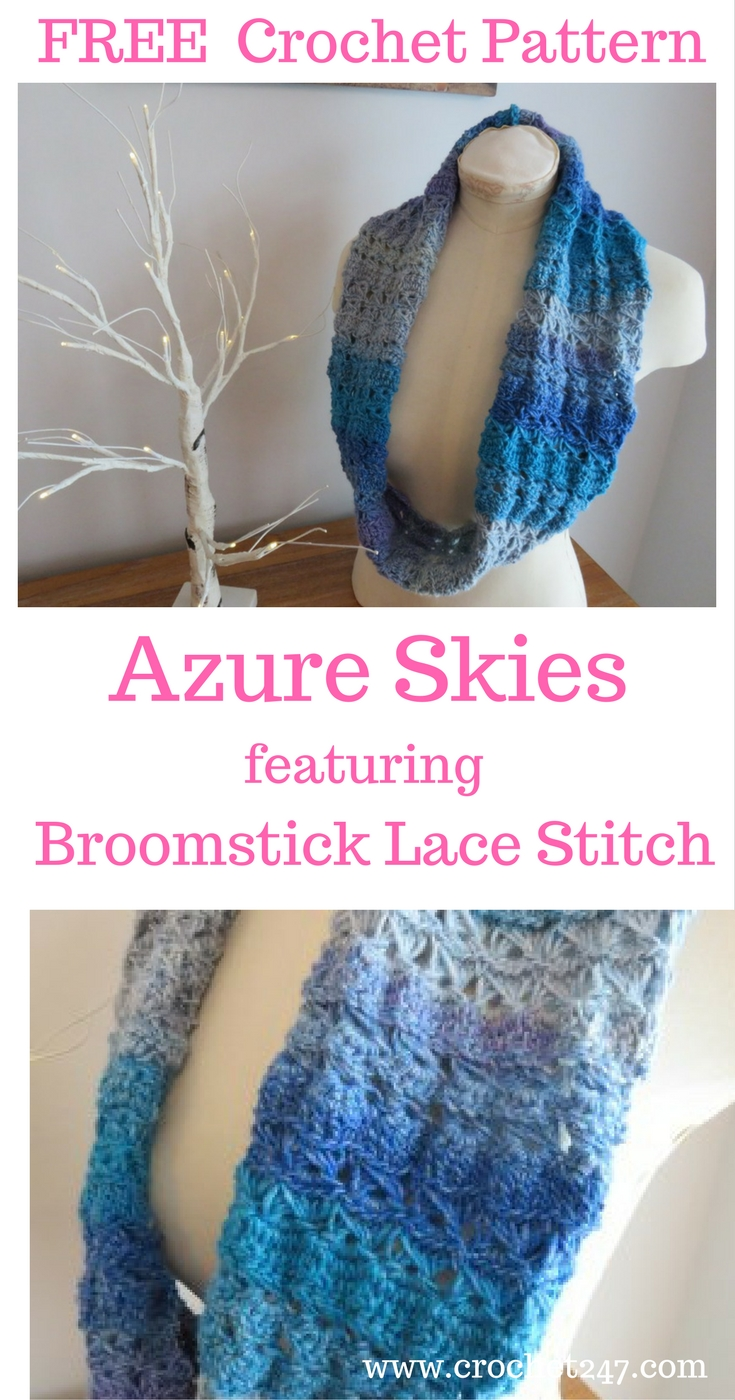 Azure Skies Crochet Cowl Pattern featuring broomstick lace crochet stitch