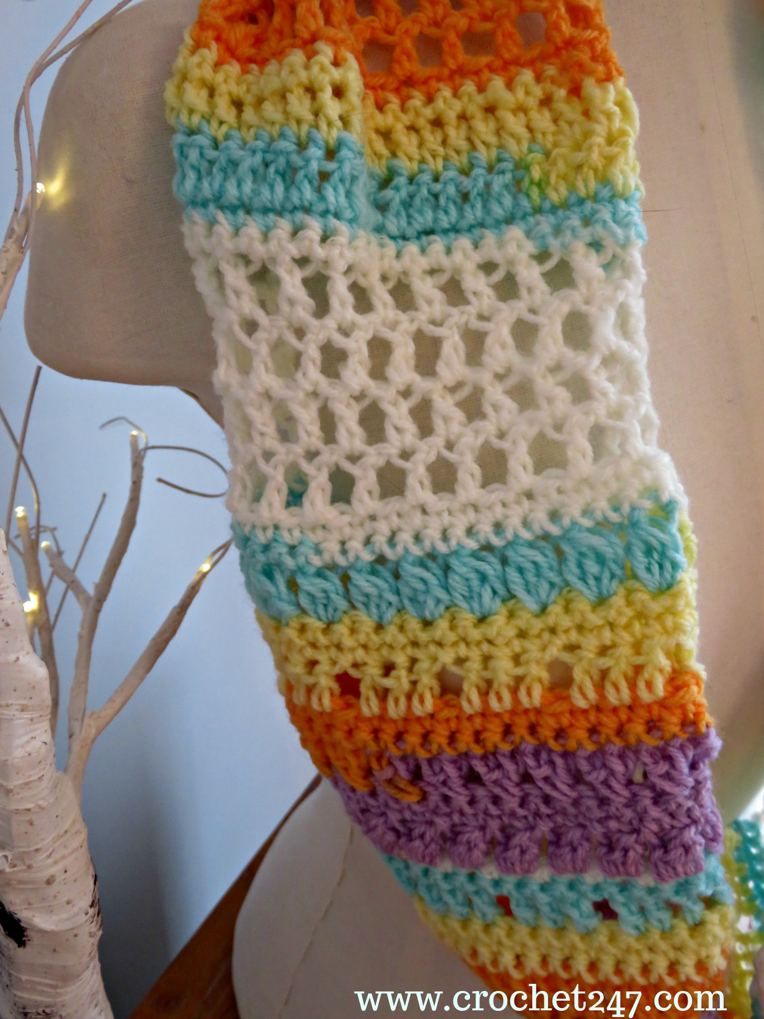 Banana Split Ice Cream Cowl from Crochet 24/7