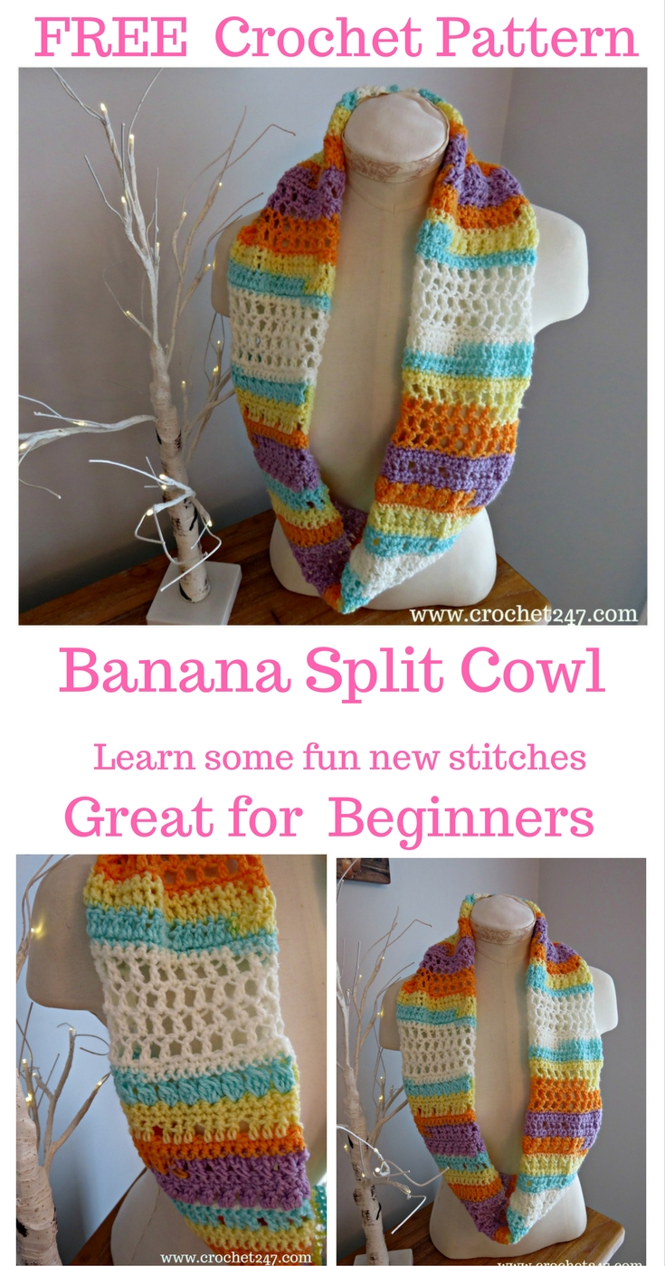 Banana Split Ice Cream Cowl - Crochet 24/7