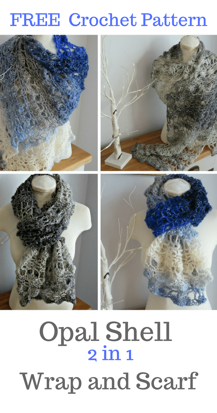 Opal Shell 2 in 1 Wrap and Scarf from Crochet247.com using Lion Brand Shawl in a Ball