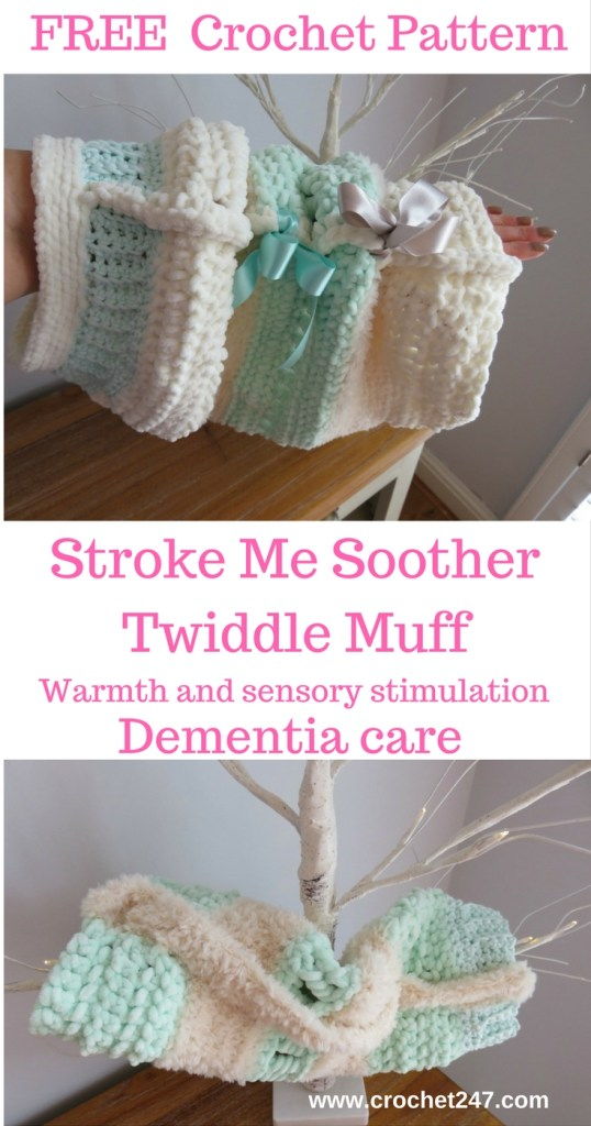 Stroke Me Soother Crochet Twiddle Muff - www.crochet247.com