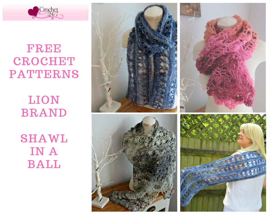 Free Crochet Patterns for Lion Brand Shawl in a Ball from Crochet 24/7