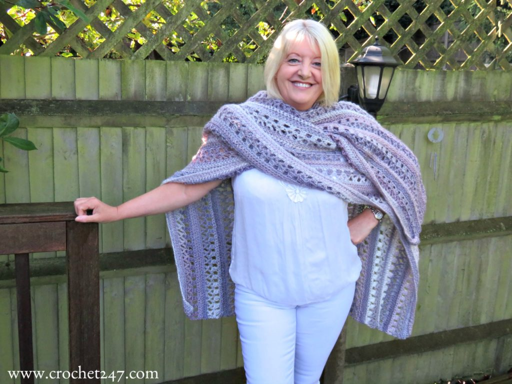 Ocean Kiss Autumn Ruana crochet pattern from Crochet247