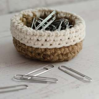 Mini Crochet Jute Basket