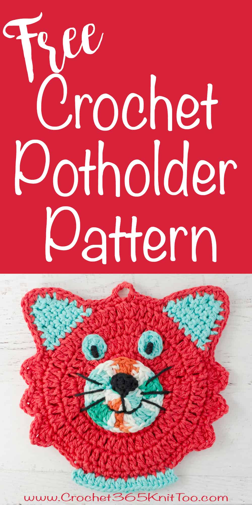 love this crochet cat potholder pattern |crochet365knittoo #crochetpatholder #crochetpattern