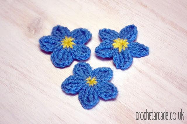 Free Crochet Flower Pattern Day 7 Forget Me Not Crochet Arcade