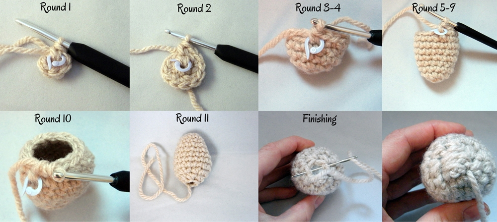 Step by step Photo Tutorial How to Make a head of Crochet Reindeer Christmas Ornament