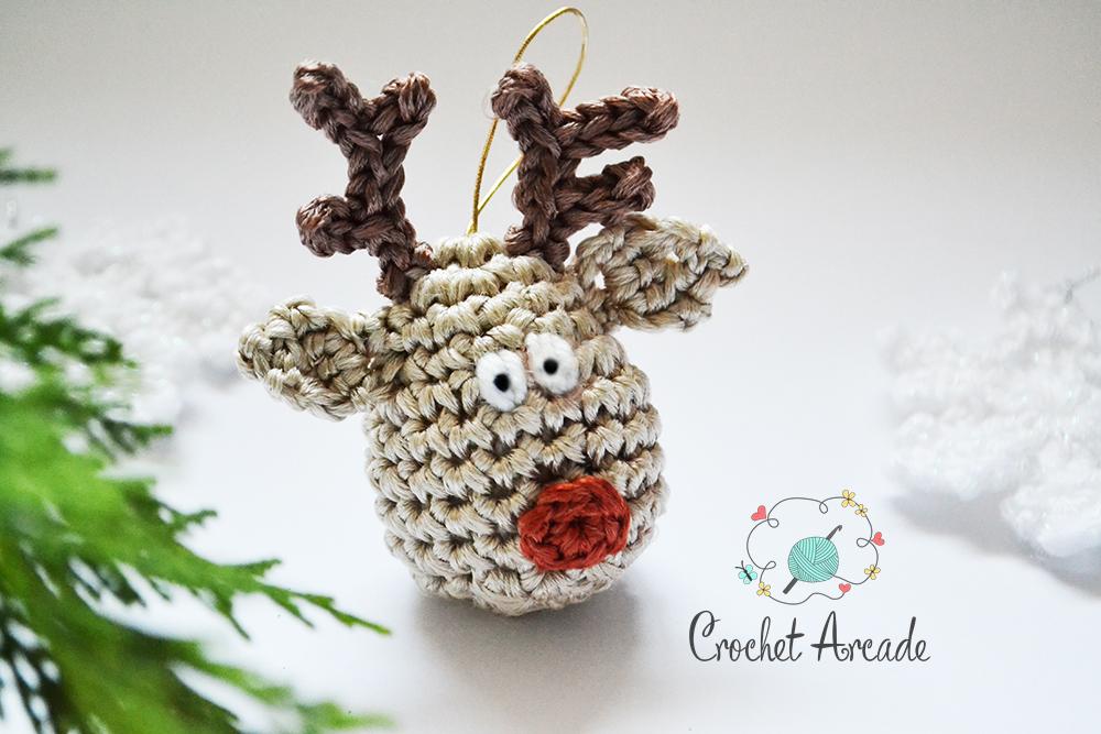Crochet Reindeer Christmas Tree Hanging Ornament Free Crochet Pattern