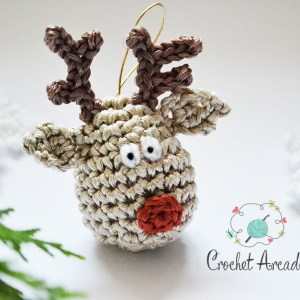 Reindeer Christmas Tree Hanging Ornament Free Crochet Pattern