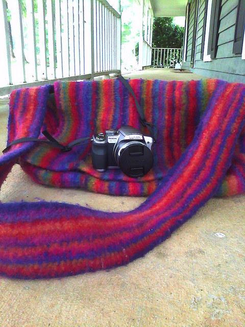 felted crochet messenger bag