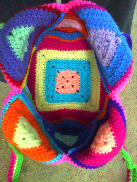 Colorful crochet granny square bag