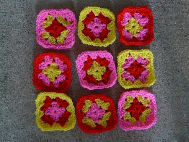 nine granny squares