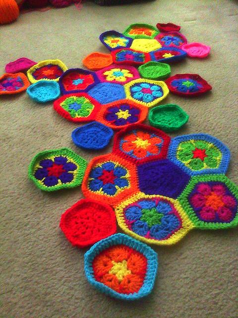 crochet hexagon motifs and crochet pentagon motifs to make a crochet soccer ball