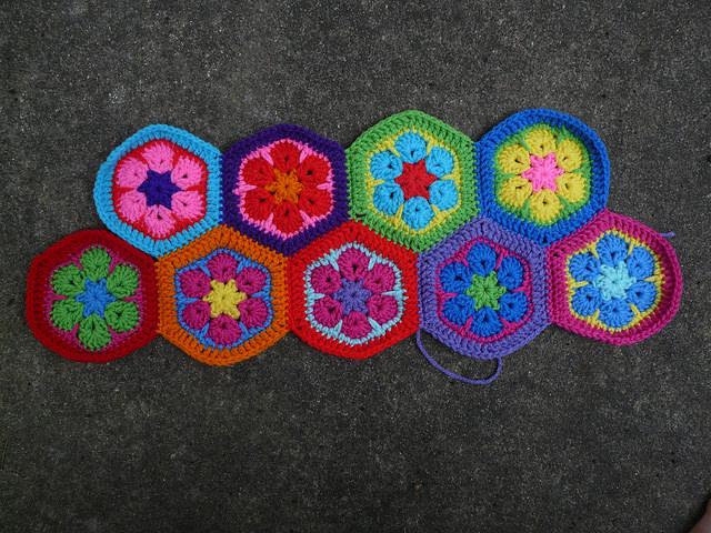 nine crochet hexagons for a crochet bag