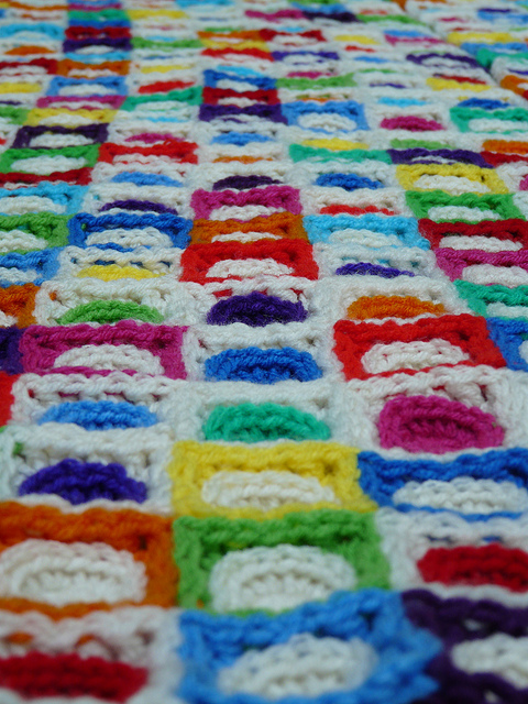 lacing join with crochet squares