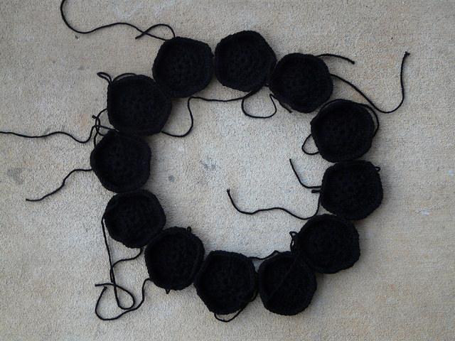 crochet pentagons for a crochet soccer ball, crochetbug, crochet ball, crochet toy, crochet hexagons