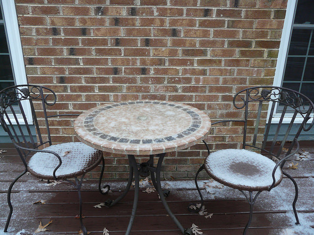 outdoor crochet office, crochetbug, snowy day, raleigh, north carolina