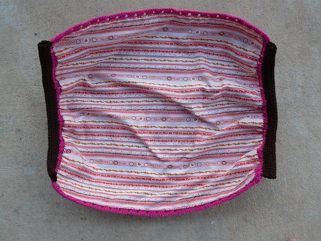 fabric lined crochet fat bag