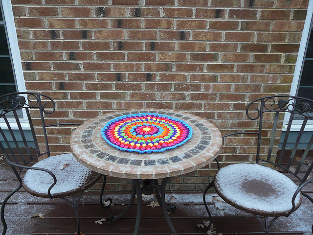 outdoor crochet office, crochetbug, crochet mandala, crochet circles, crochet circle, snowy day, raleigh, north carolina