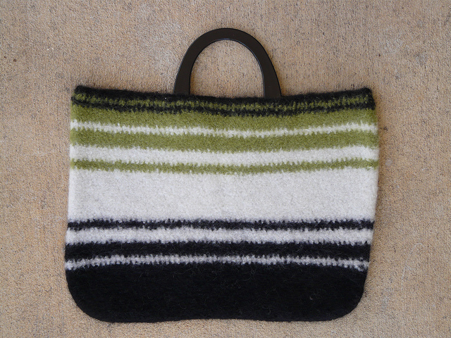 Andrea's wool crochet bag fully felted