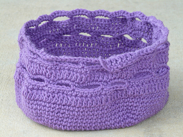 purple crochet stash basket