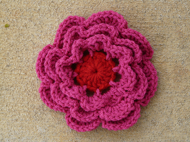 big crochet flower
