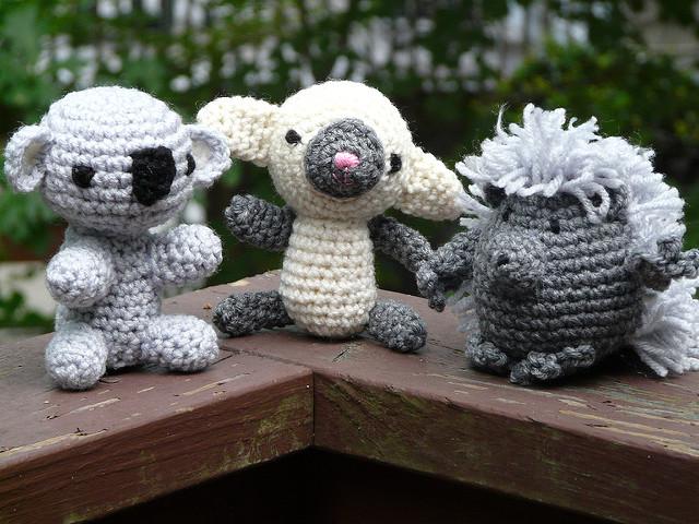 crochet koala crochet lamb and crochet porcupine