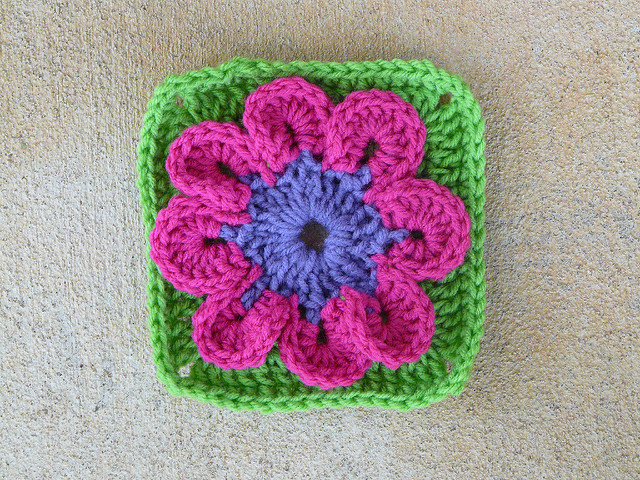 Crochet square with a crochet flower center