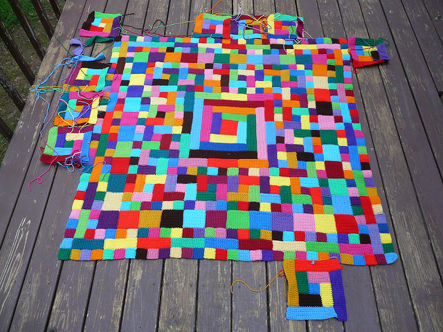 quilt inspired crochet blanket