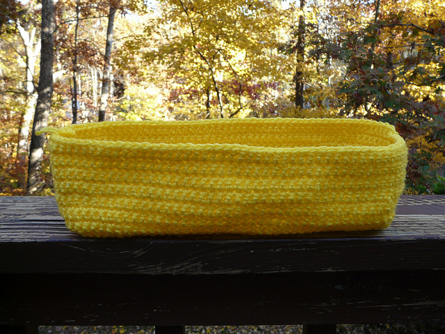 yellow crochet tote