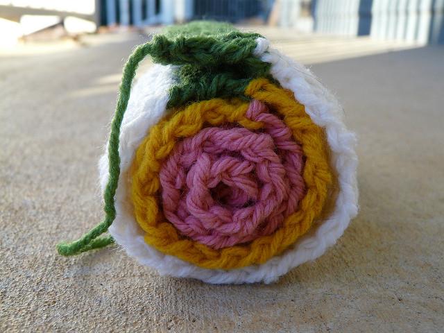 sushi inspired crochet scarf