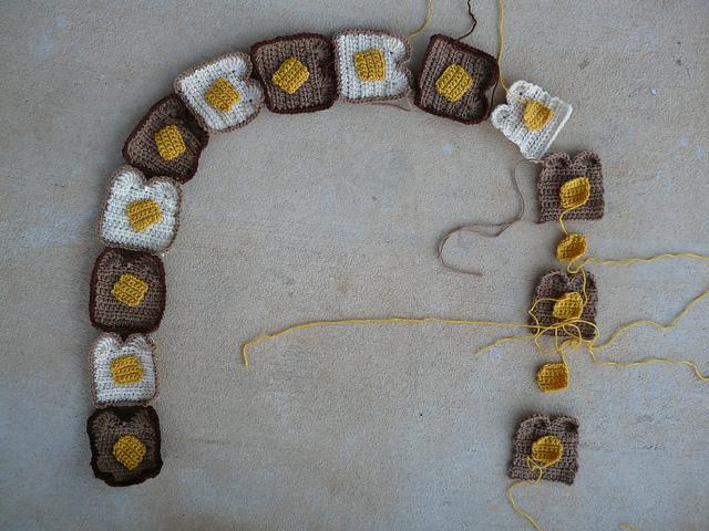 twinkie chan buttered toast crochet scarf