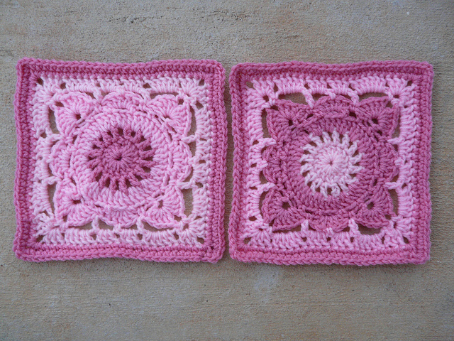 two pink crochet squares