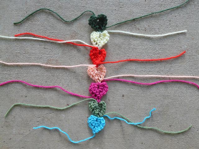 strand of crochet hearts
