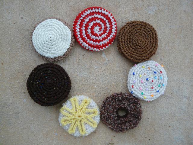 seven crochet cookie designs