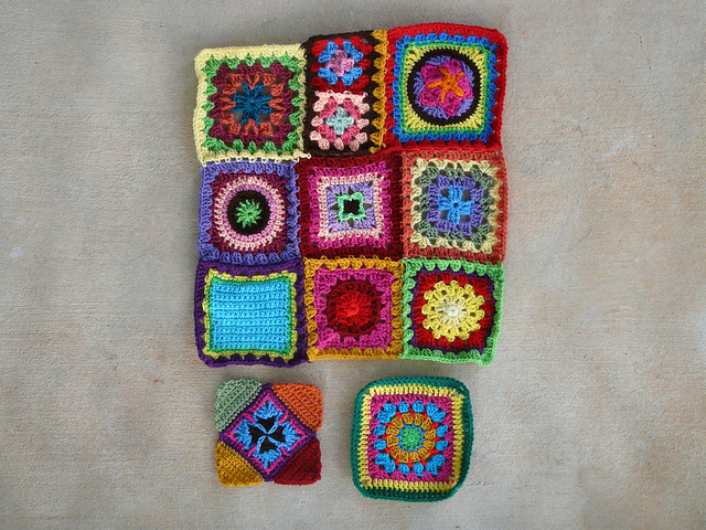 panel of crochet squares